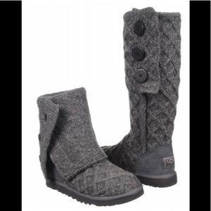 NIB Ugg Classic Lattice Cardy Boots Charcoal 7